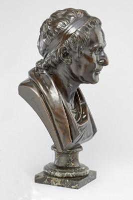 Jean-Antoine Houdon (1741–1828), Jean-Jacques Rousseau, Bronze, um 1780, Höhe 45 cm, Höhe mit Sockel 57,5 cm, Liebieghaus Skulpturensammlung, Frankfurt am Main Foto: Liebieghaus Skulpturensammlung