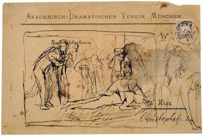 Max Slevogt, Entwurf zur Ringerschule, 1893, 16×24 cm; Landesmuseum Mainz