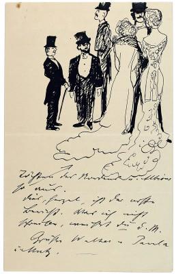 """Brief von Max Slevogt an seine Frau Antonie aus London mit einer Selbstkarikatur unter den """"Söhnen und Töchtern des Nordens und Albions"""", 1906; Pfälzische Landesbibliothek Speyer"""