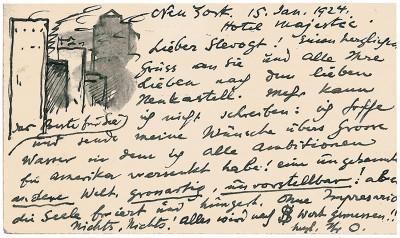 Postkarte von Emil Orlik an Max Slevogt mit einer Skizze der Wolkenkratzer von New York, 1924; Pfälzische Landesbibliothek Speyer