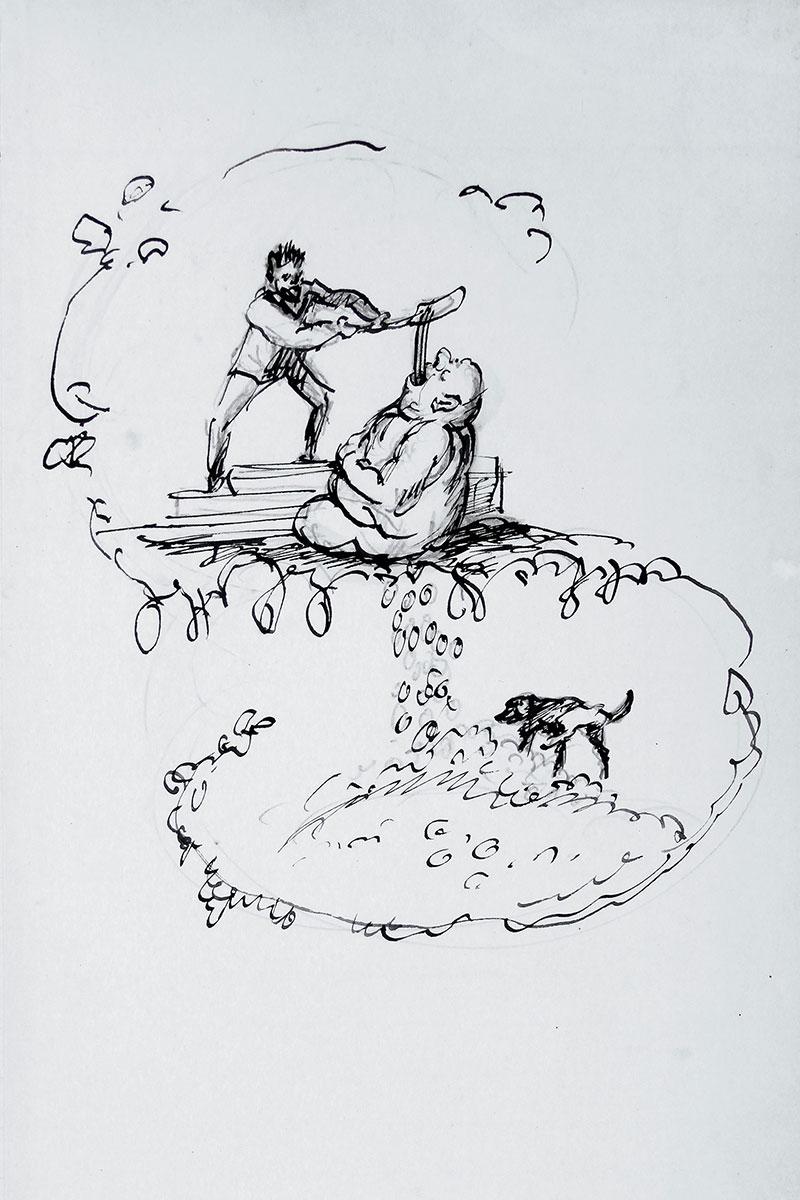 Max Slevogt, Dukatenscheißer, Frontispiz eines Rechnungsbuchs mit Selbstkarikatur, um 1910; Pfälzische Landesbibliothek Speyer