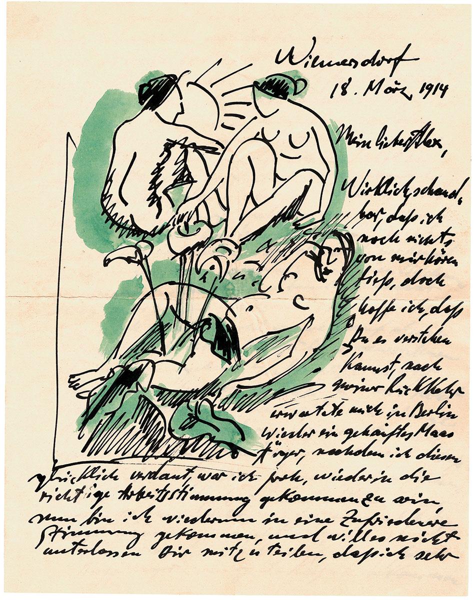 Max Pechstein, Akte mit Calla, Brief an Alexander Gerbig vom 18.3.1914; Kunstsammlungen Zwickau, Max-Pechstein-Museum