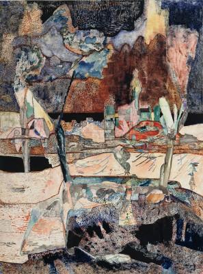 Gerhard Altenbourg, Fern das Gebirge, 1952, 68,8×51 cm; Kupferstichkabinett, Staatliche Museen zu Berlin