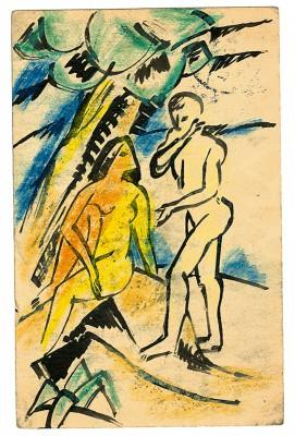 Max Pechstein, Akte unter Bäumen, Postkarte an Alexander Gerbig vom 17.6.1912; Kunstsammlungen Zwickau, Max-Pechstein-Museum