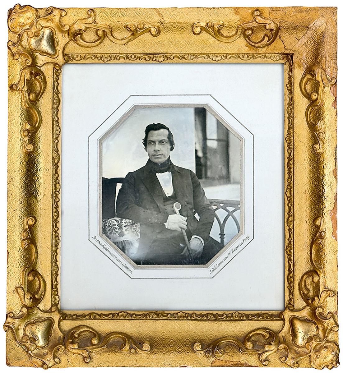 Bertha Beckmann, Porträt des Otto Weise, Daguerreotypie, 1843, Durchmesser 9,5 cm, mit zeitgenössischem Rahmen 16,5×15 cm; Stadtgeschichtliches Museum Leipzig
