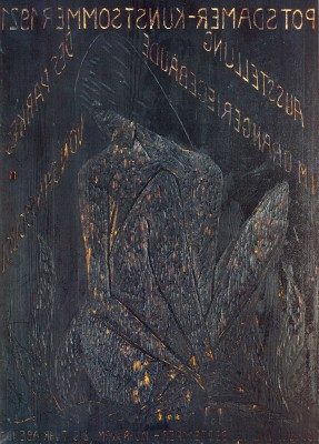 Otto Mueller, Druckstock des Plakats zum Potsdamer Kunstsommer 1921, Große Sitzende, 1921, 95,5×69,5 cm