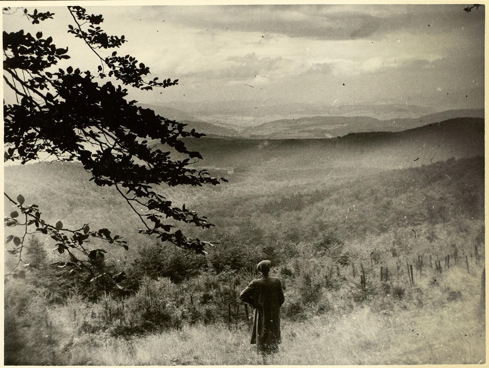 Hans Jürgen von der Wense im Kaufunger Wald, Fotografie aus dem Nachlass, 1953