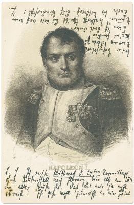 Kunst-Postkarte mit Napoleon-Porträt von Thomas an Heinrich Mann vom 20.4.1901, Rückseite