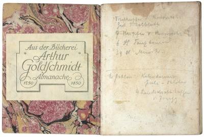 Exlibris von Arthur Goldschmidt aus dem Almanach und Taschenbuch zum geselligen Vergnügen, herausgegeben von W. G. Becker. Leipzig, Roch und Weigel, 1800; Klassik Stiftung Weimar, Herzogin Anna Amalia Bibliothek Weimar