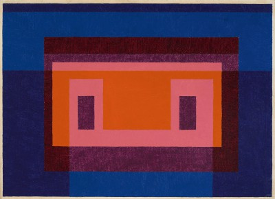 Josef Albers, Variant / Adobe, 4 Central Warm Colors Surrounded by 2 Blues, 1948, 63,5 × 88,9 cm; Josef Albers Museum Quadrat Bottrop