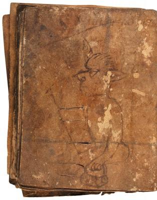 Märenhandschrift des 13. Jahrhunderts, letzte Seite mit geheimnisvoller Federzeichnung eines Teufels; Staatsbibliothek zu Berlin