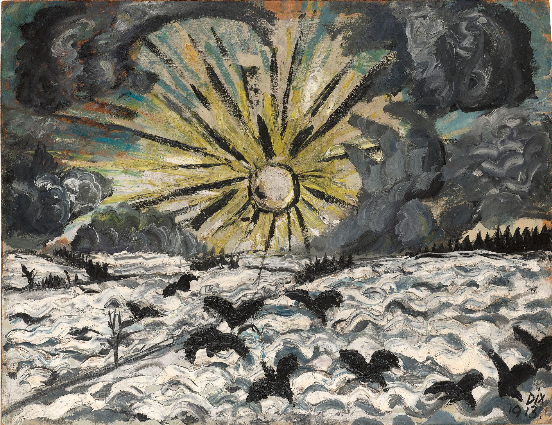 Otto Dix, Sonnenaufgang, 1913, 50,5×66 cm; Städtische Galerie Dresden