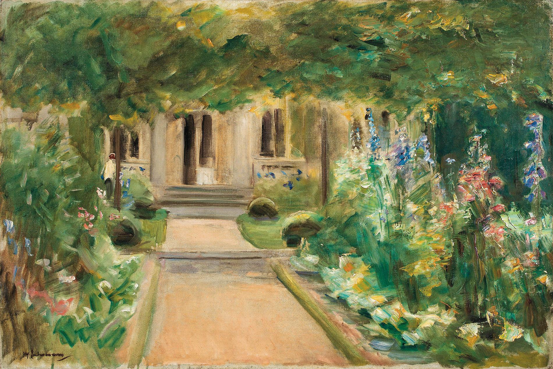 Max Liebermann, Blick aus dem Nutzgarten nach Osten auf den Eingang zum Landhaus, 1919, 50,5×75,5 cm; Liebermann-Villa am Wannsee, Max-Liebermann-Gesellschaft Berlin e.V.
