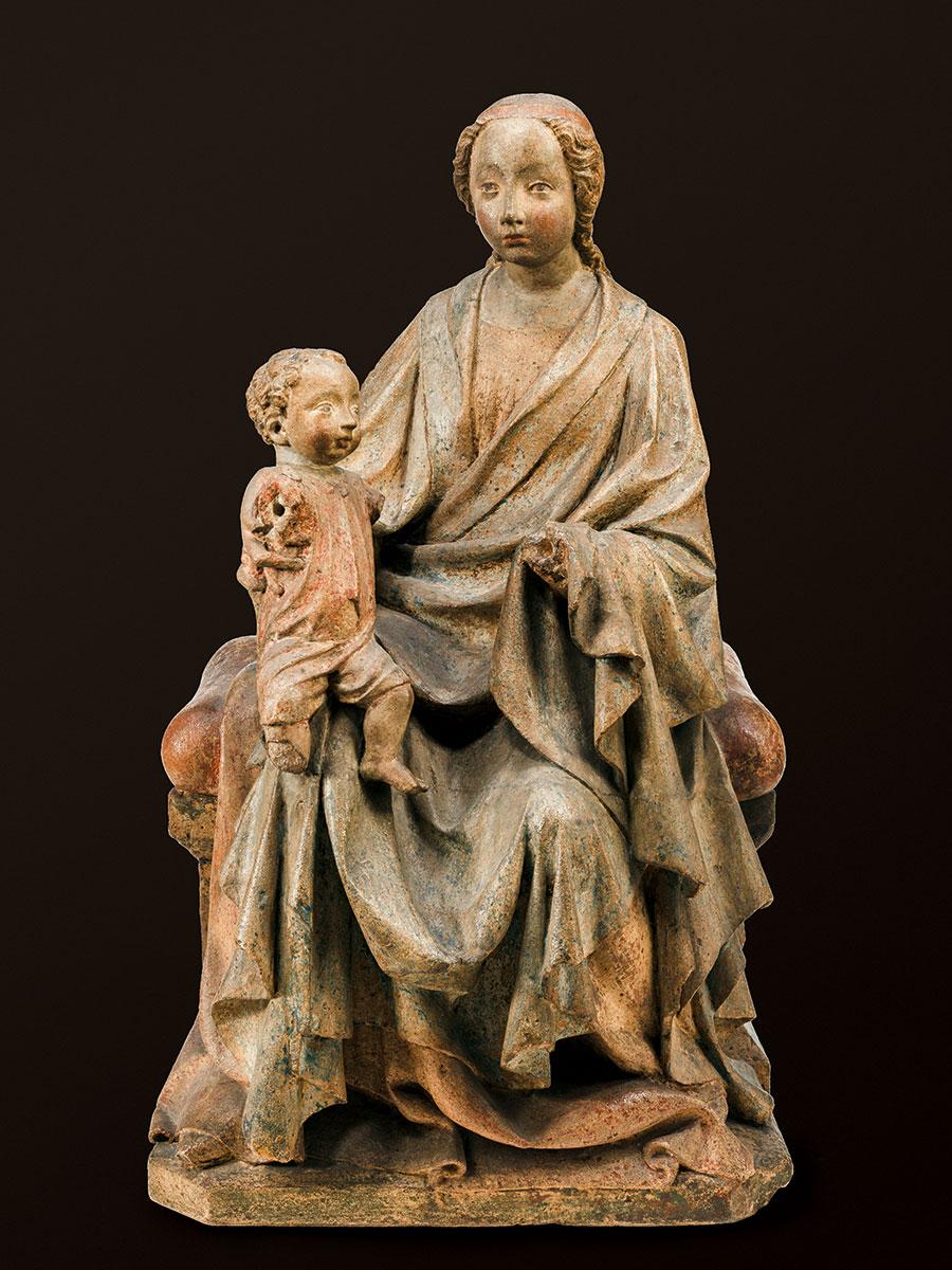 Thronende Madonna mit Kind des Schönen Stils, um 1390/1400, Höhe 72 cm; Bayerisches Nationalmuseum, München