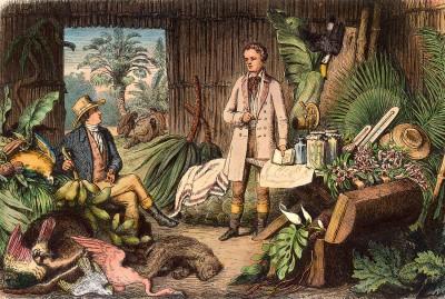 Otto Roth, Alexander von Humboldt und Aimé Bonpland in der Urwaldhütte am Orinoco, 1870, Holzstich nach einer Zeichnung von H. Lademann