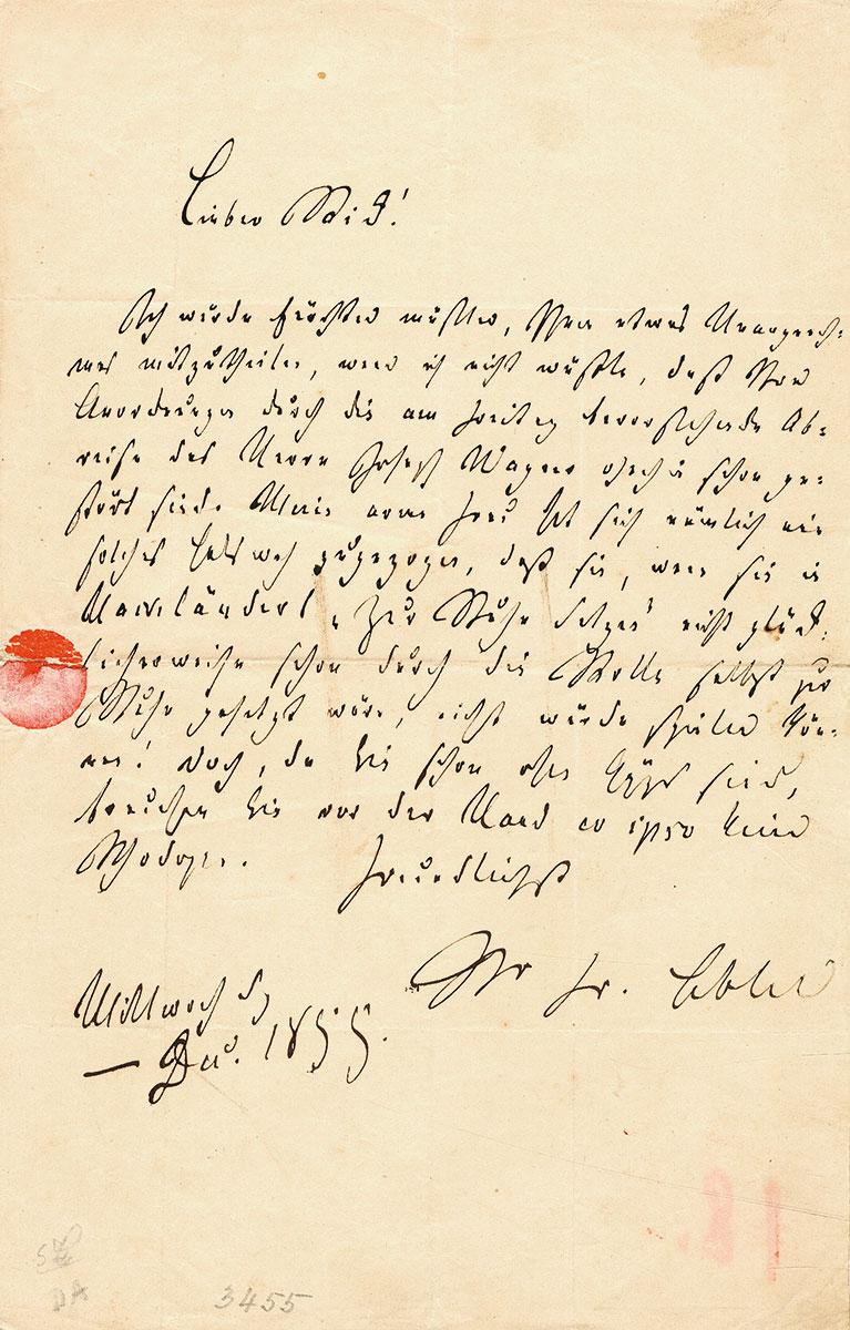 Friedrich Hebbel, Brief an Karl Rick, 1855; Schleswig-Holsteinische Landesbibliothek, Kiel