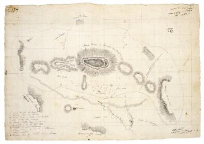 Alexander von Humboldt, Skizze des Vulkans Jorullo (Tagebuch IX, Bl. 154r); Staatsbibliothek zu Berlin
