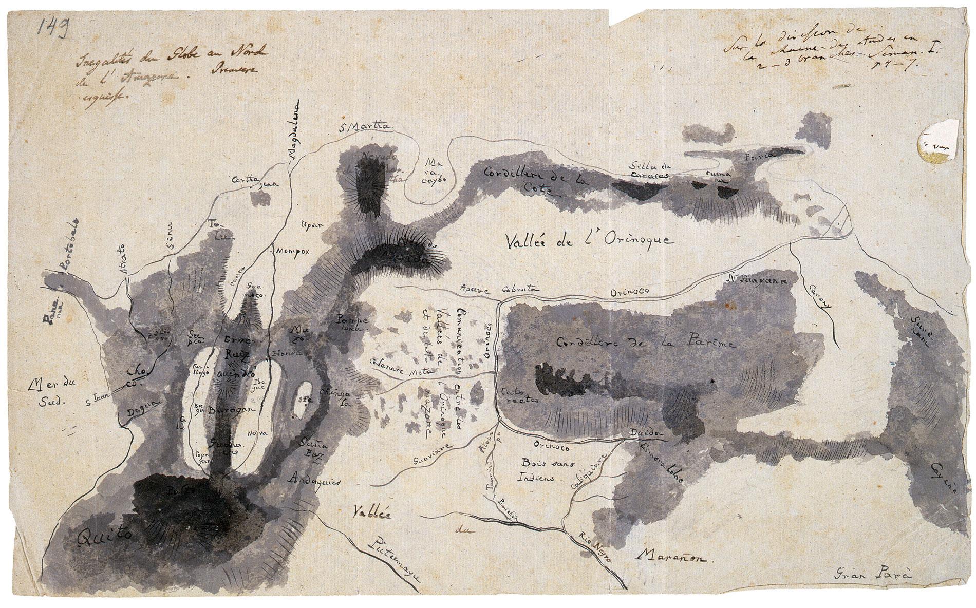 Alexander von Humboldt, Skizze des Orinoco-Gebiets (Tagebuch VIIbb/c, Bl. 149r); Staatsbibliothek zu Berlin