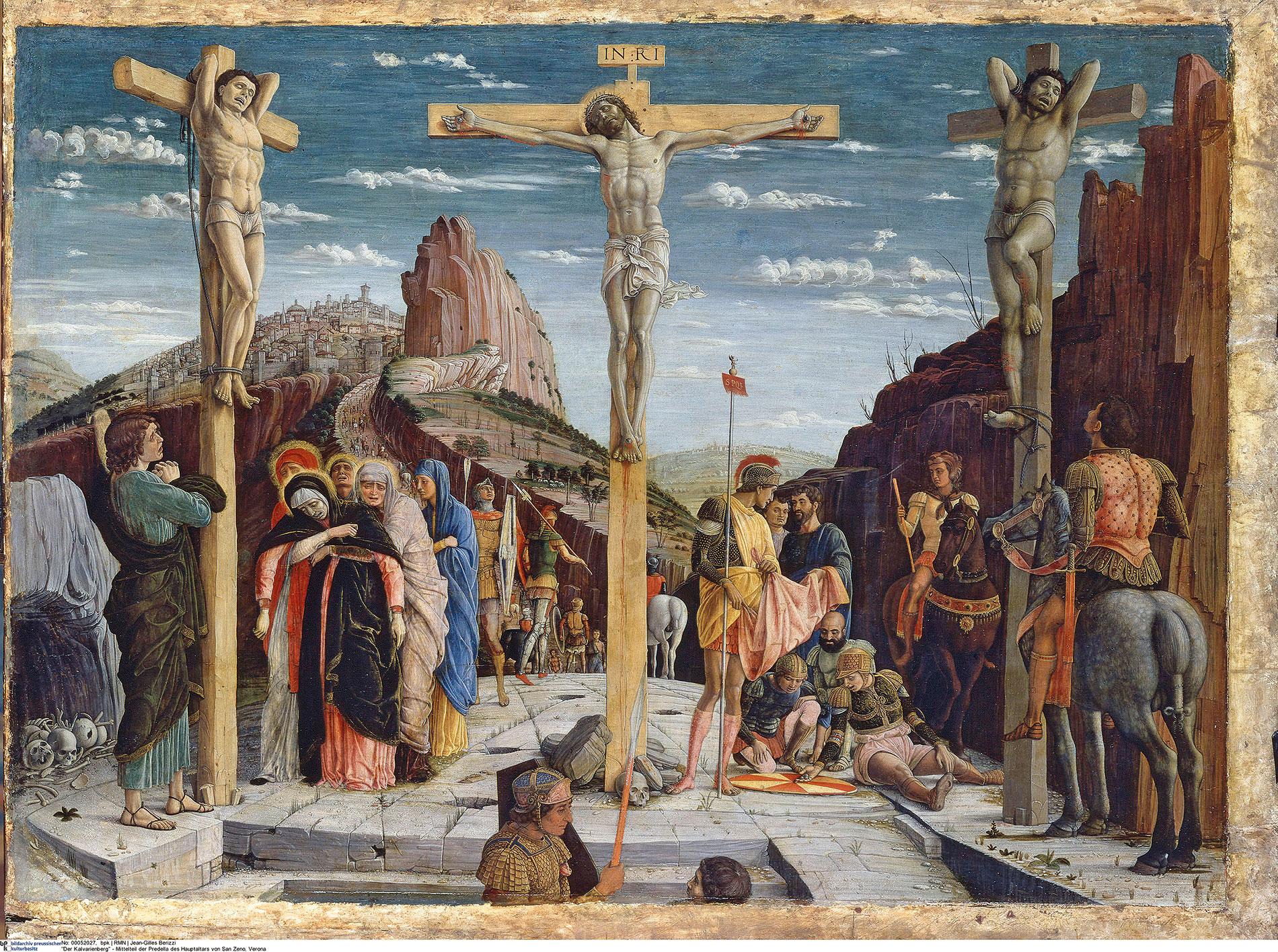 Andrea Mantegna, Kalvarienberg, Mittelteil der Predella des Hauptaltars, 1457/60, 76×96 cm; San Zeno, Verona