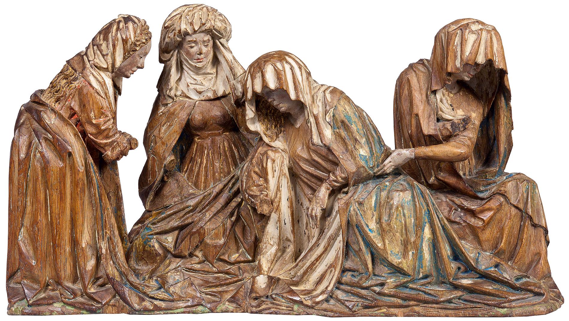 Trauernde Frauen, Figurengruppe aus dem Großen Kalvarienberg, um 1430–40, 29×52,5×10 cm; Museum Schnütgen, Köln