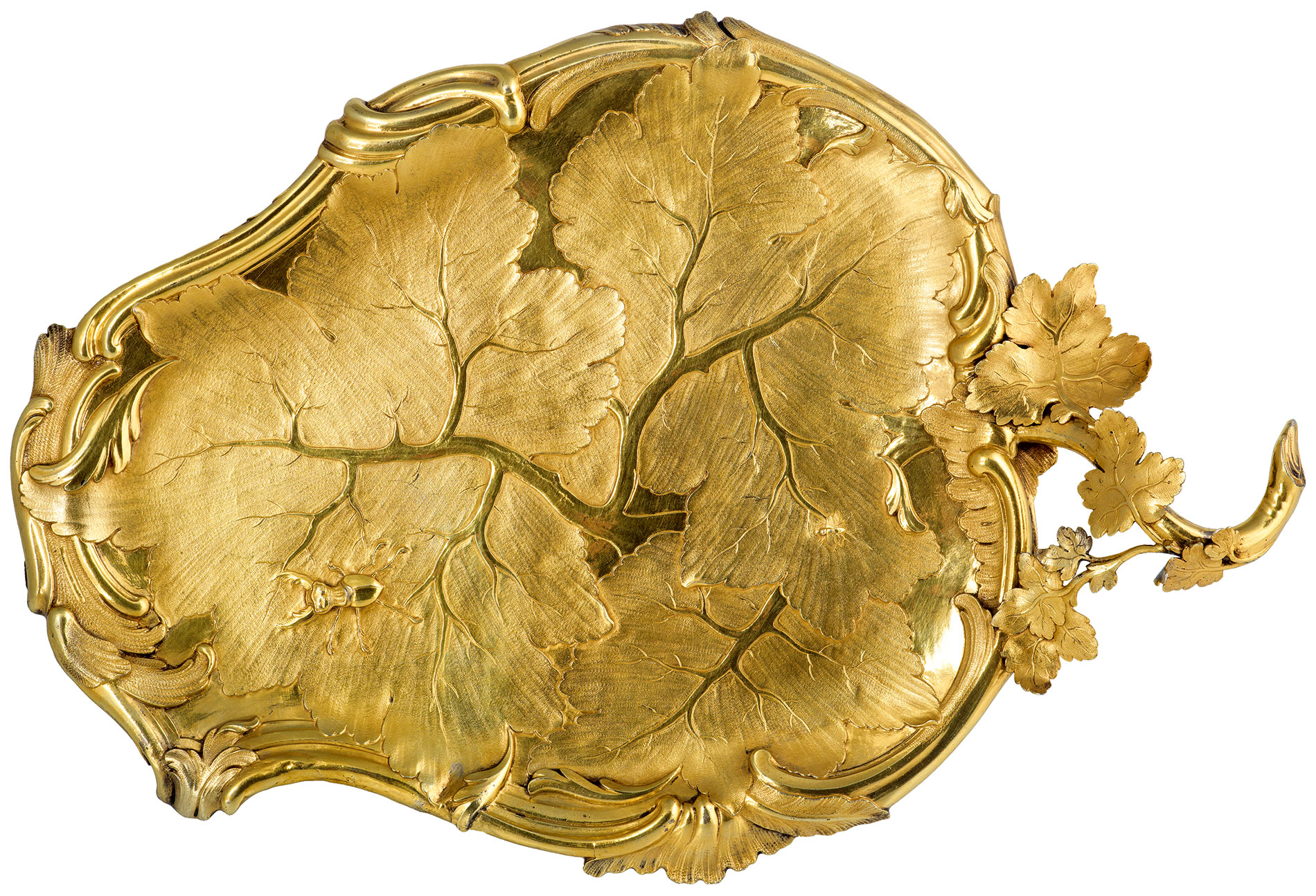 Christian Lieberkühn d.J., Zwei vergoldete Silbertabletts, um 1750, 37,5×25,5 cm; Stiftung Preußische Schlösser und Gärten Berlin-Brandenburg, Potsdam