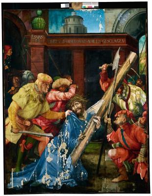 Matthias Grünewald, Die Kreuztragung Christi, 1523–25, 196×152 cm, Gesamtaufnahme des aktuellen Zustandes; Staatliche Kunsthalle Karlsruhe