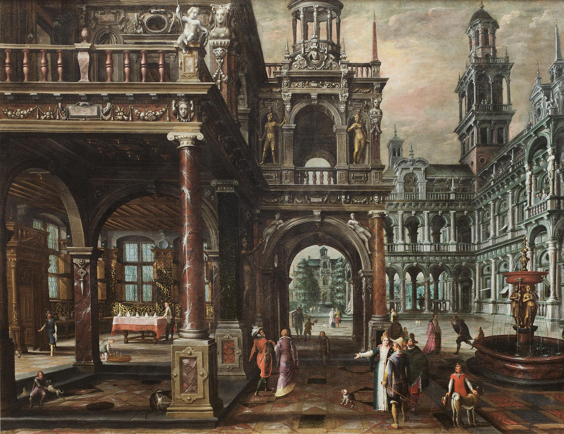 Paul Vredeman de Vries, Palastarchitektur mit höfischer Gesellschaft, 1607, 147,5×189,5 cm; Grassimuseum, Leipzig