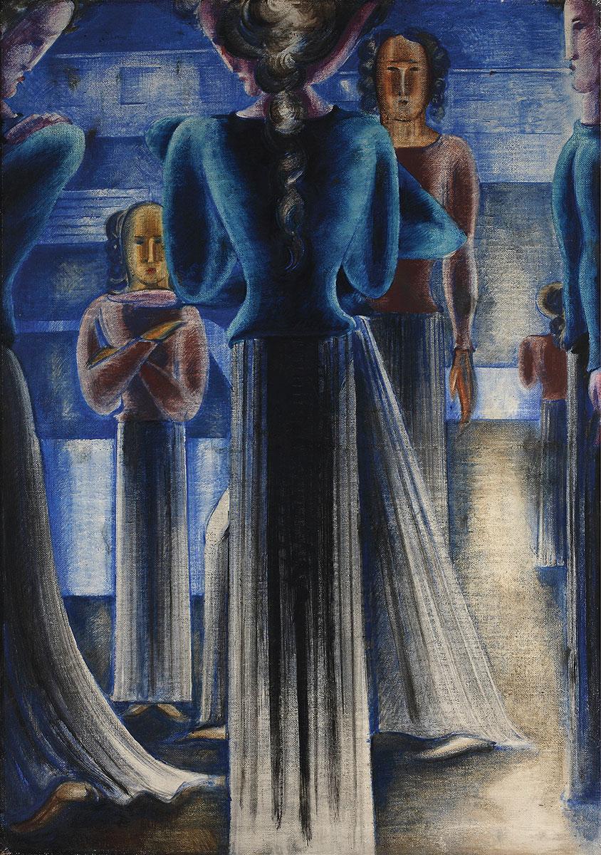 Oskar Schlemmer, Blaue Frauengruppe, 1931, 162,5×114 cm; Stiftung Saarländischer Kulturbesitz, Saarlandmuseum, Saarbrücken