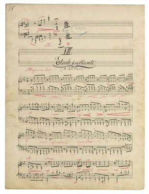 Max Reger, Manuskriptseite aus den Improvisationen op. 18 für Klavier, Nr. 8 Etude brillante, 1897; Max-Reger-Institut, Karlsruhe