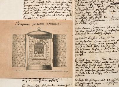 Johann Andreas Silbermann, Reisetagebuch, Stich des Reiskornaltars, 1741; Sächsische Landesbibliothek – Staats- und Universitätsbibliothek Dresden