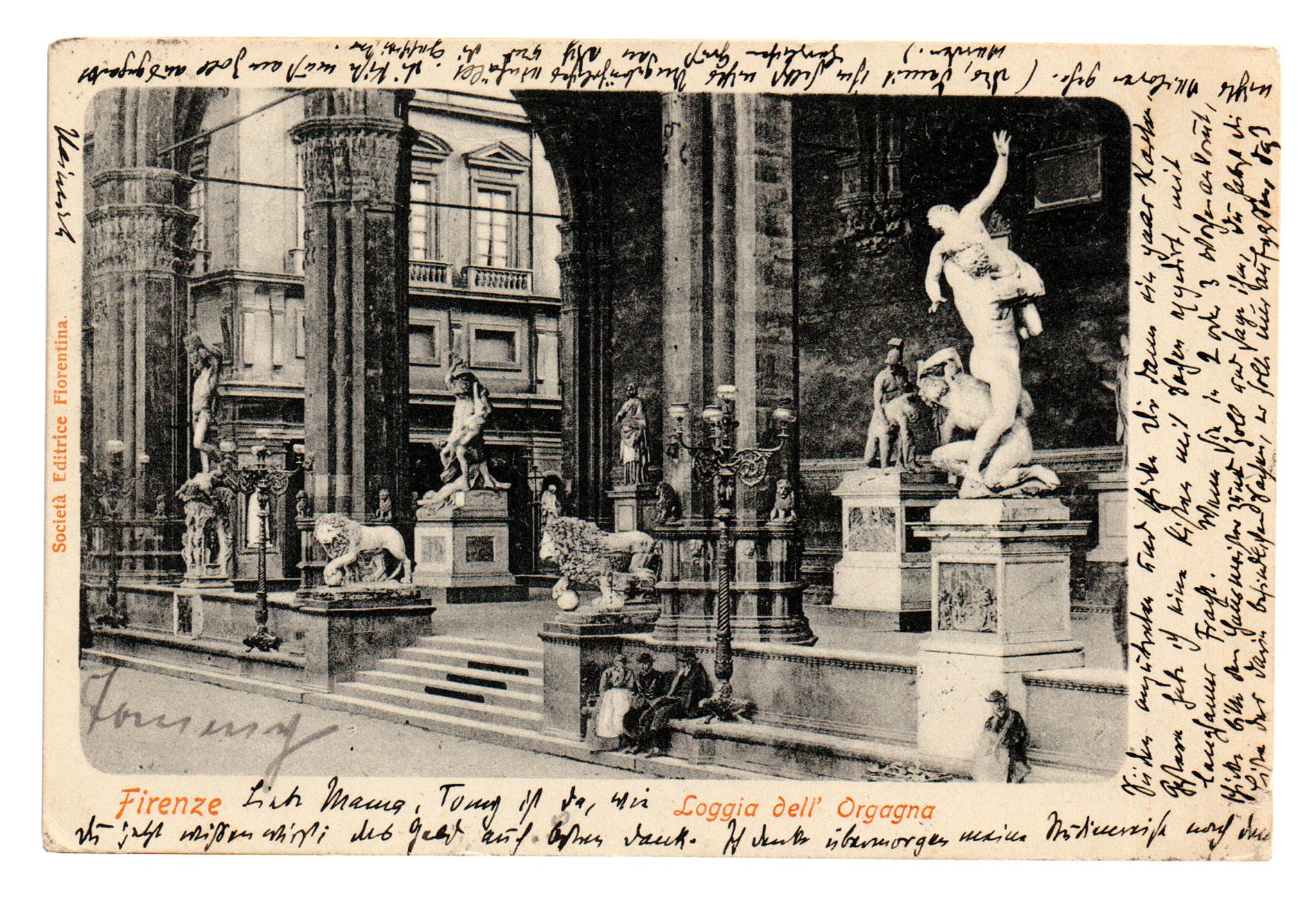 Postkarte von Heinrich Mann an seine Mutter Julia Mann vom 28.3.1901; Buddenbrookhaus, Lübeck