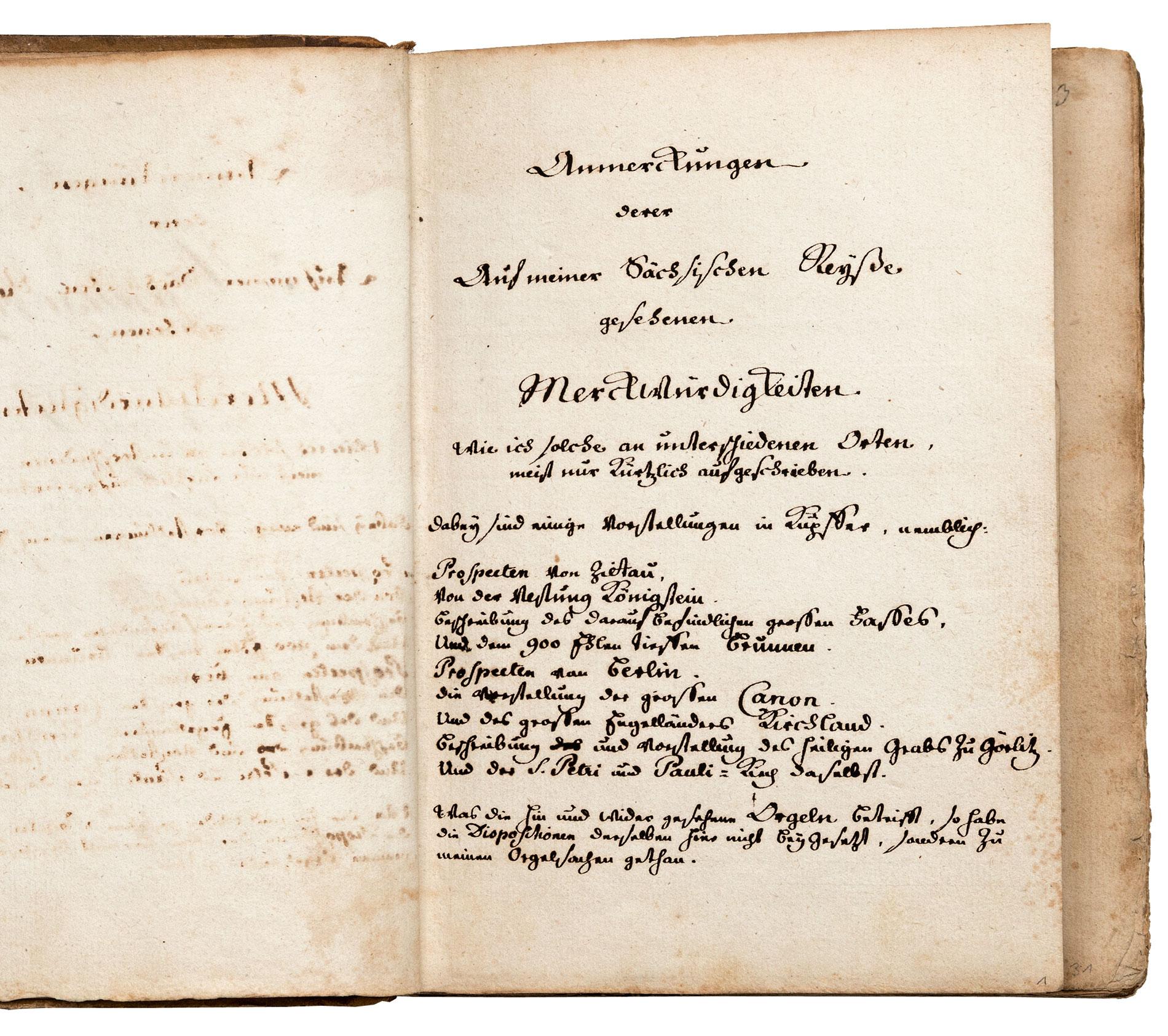 Titelblatt des Reisetagebuchs von Johann Andreas Silbermann, 1741; Sächsische Landesbibliothek – Staats- und Universitätsbibliothek Dresden