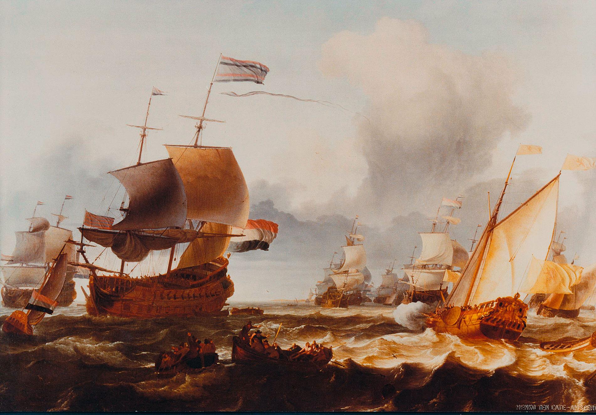 Ludolf Backhuysen, Die Übergabe des Oberbefehls an Admiral Michiel de Ruyter am 18. August 1665, 1671, 126 × 163 cm; Ostfriesisches Landesmuseum Emden