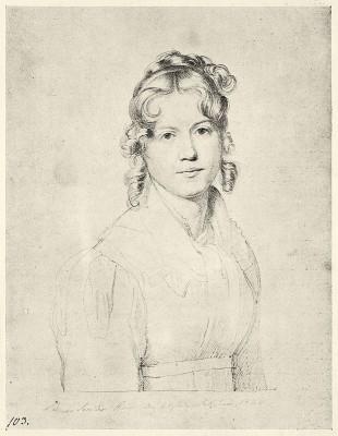 Louise Seidler, Selbstbildnis, 1820; ehemals Staatliche Kunstsammlungen Dresden, Kupferstichkabinett (Kriegsverlust)