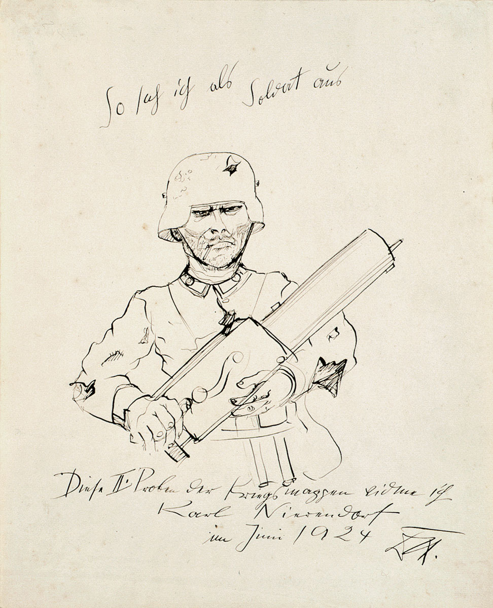 Otto Dix, So sah ich als Soldat aus, 1924, 42,7 × 34,4 cm; Berlinische Galerie, Berlin