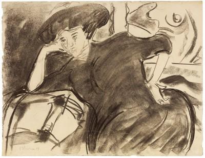 Ernst Ludwig Kirchner, Große Frau in schwarzem Kleid, 1908 (von Kirchner selbst datiert auf 1904), 69 × 89,5 cm; Brücke-Museum, Berlin