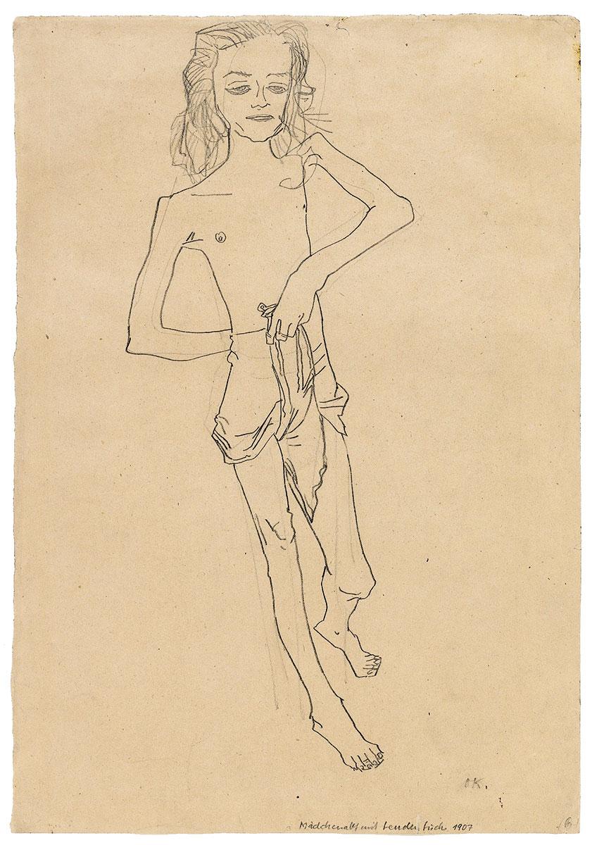 Oskar Kokoschka, Mädchenhalbakt, den Rock zwischen den Beinen durchgezogen (Tochter des Gauklers), 1907, 45,2×31,3 cm; Privatbesitz