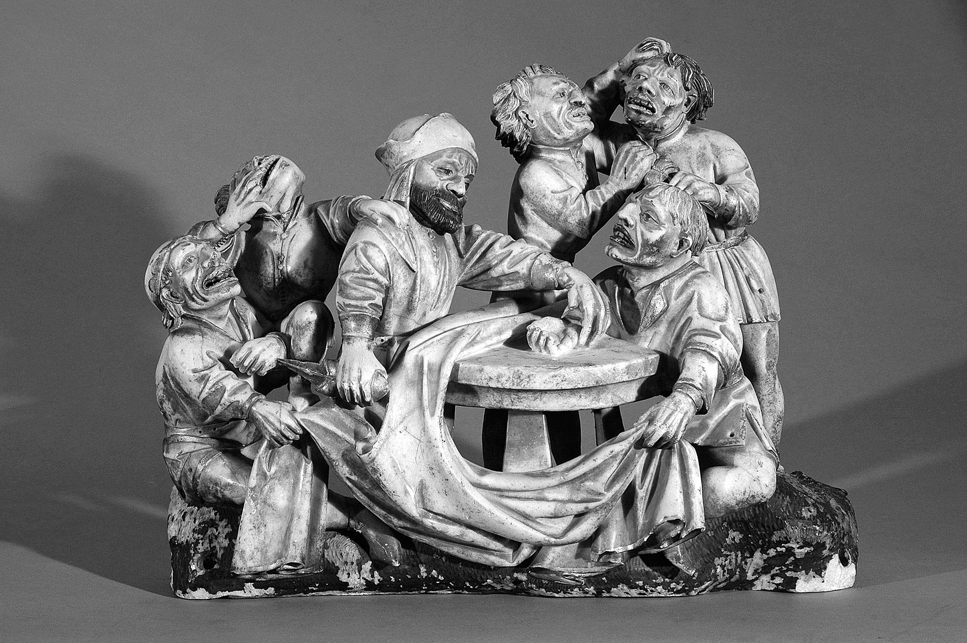 """Zurückgekehrtes Alabasterrelief """"Würfelnde Kriegsknechte"""" aus dem Kalvarienberg des Domschatzes zu Halberstadt, um 1460"""