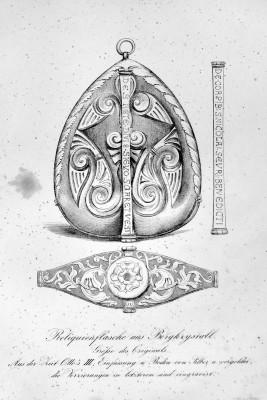 Lithografie des Bergkristallreliquiars aus dem Quedlinburger Domschatz