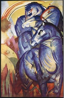 Franz Marc, Turm der blauen Pferde, 1913, 200×130 cm; seit 1945 verschollen, ehemals Nationalgalerie im Kronprinzenpalais, Berlin
