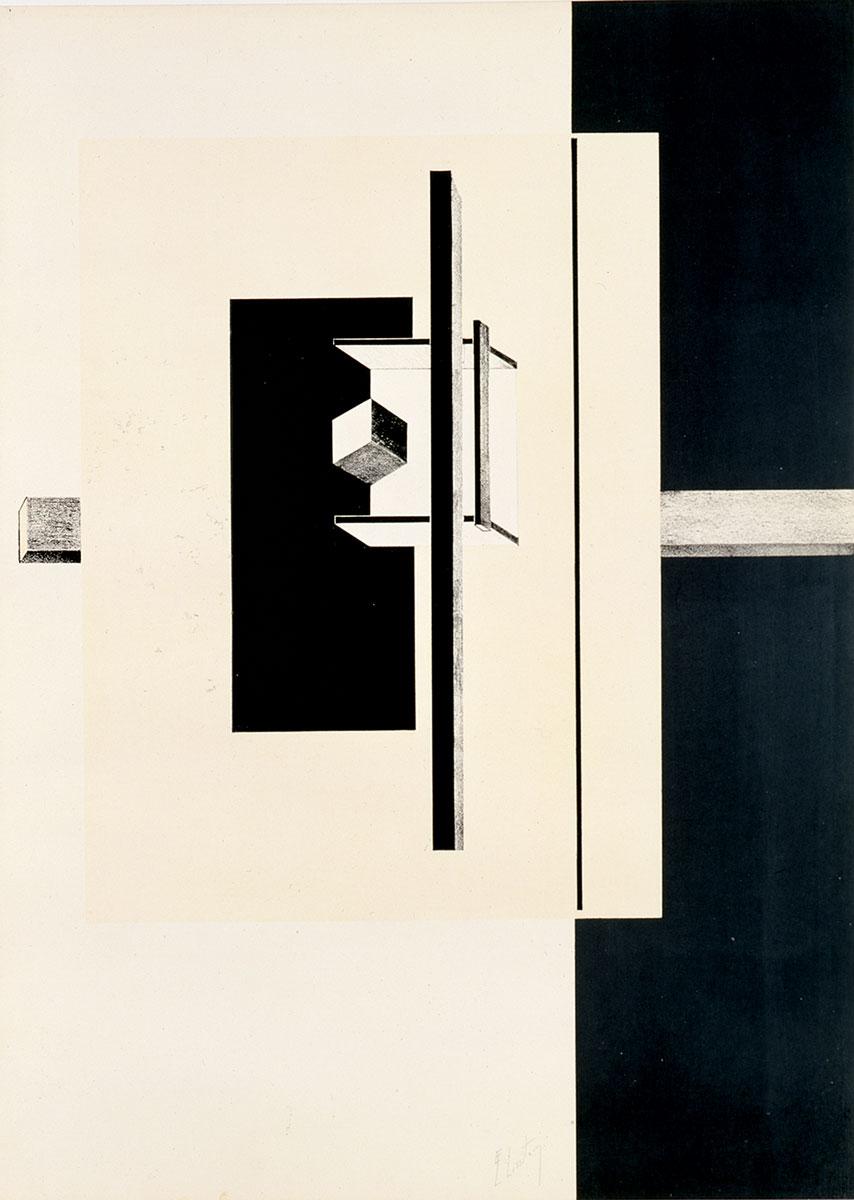El Lissitzky, Schwarzer Längsbalken, aus der Mappe Proun, 1919–1923, 60,2×42,3 cm; Kupferstichkabinett Dresden