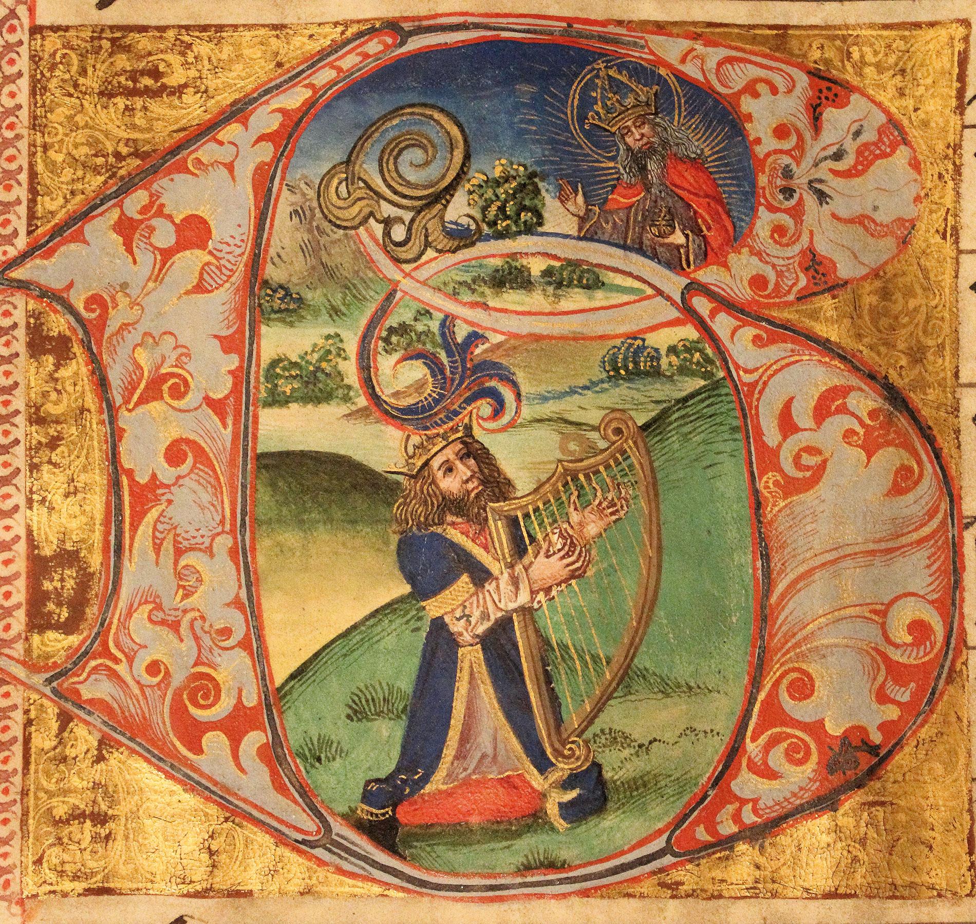 König David mit der Harfe. Miniatur aus dem Chorbuch II der Naumburger Domstiftsbibliothek, 15. Jh.; Domstiftsbibliothek Naumburg