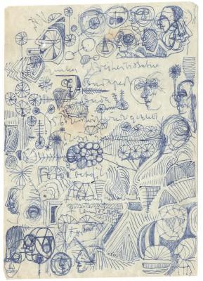 """Heiner Müller, Werknotizen im Umkreis des Projektes """"hamlet in budapest"""", """"Ginka: Freiheitsstatue/Budapest/56 zerstört wieder geklebt […]"""", vermutlich 1970er Jahre; Akademie der Künste, Berlin, Heiner-Müller-Archiv"""