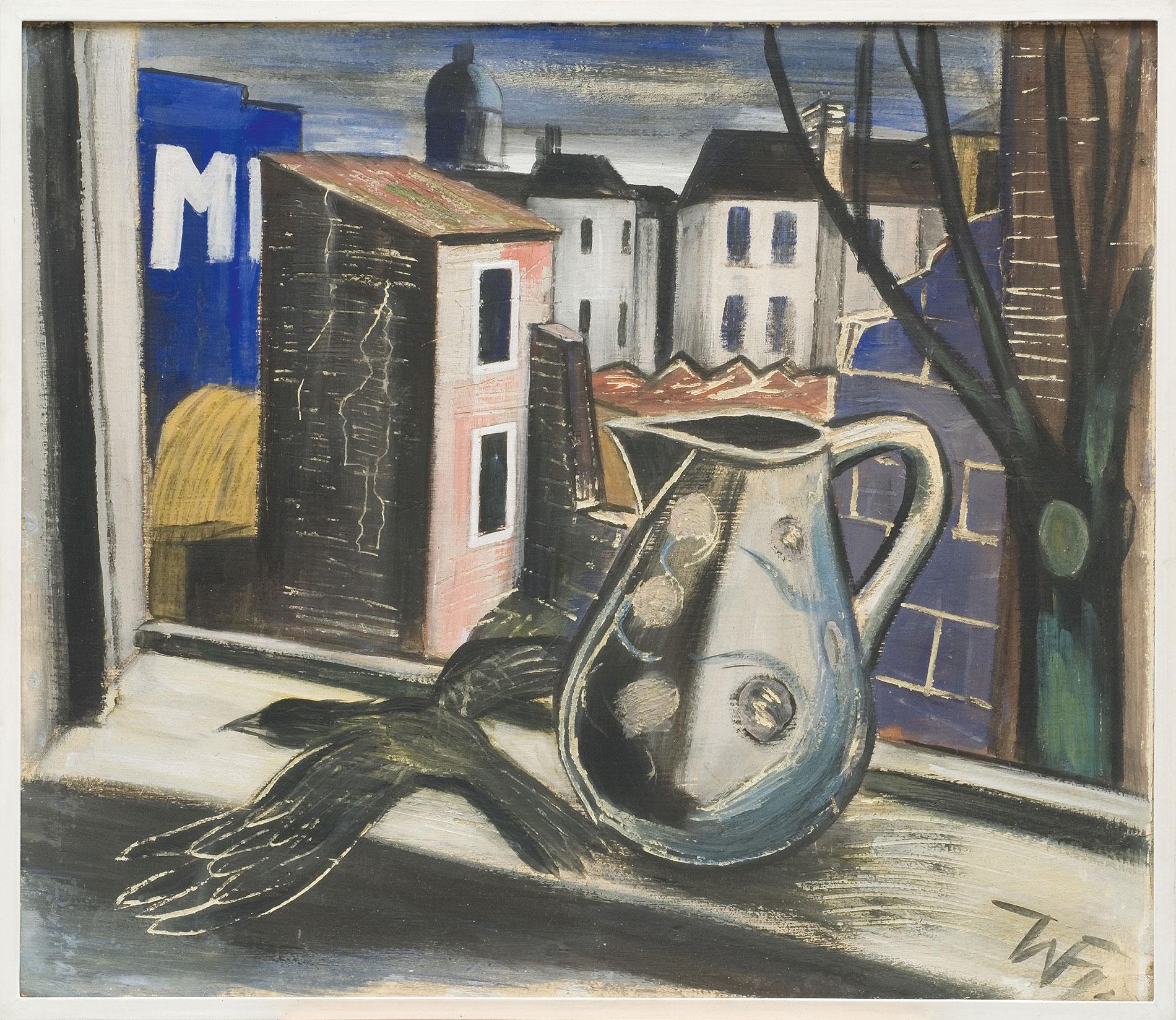 Werner Heldt, Fensterausblick mit totem Vogel, 1945, 85 × 99 cm; Sprengel Museum Hannover