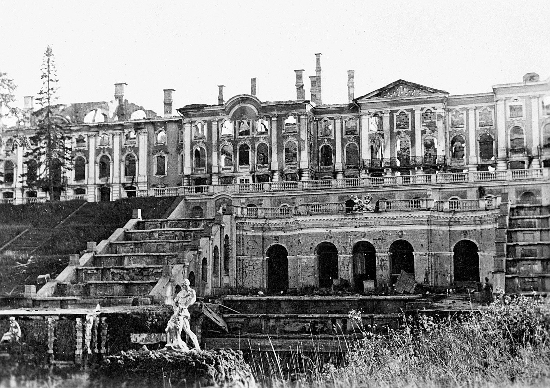Blick auf das zerstörte Schloss Peterhof mit Großer Kaskade und Samsonfontäne im Vordergrund, September 1942