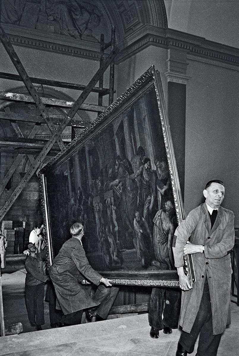 """Rückkehr der Kunstschätze in die Dresdner Gemäldegalerie 1956; hier Paolo Veroneses """"Die Darstellung Christi im Tempel"""" (um 1555/60)"""