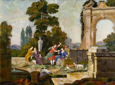 Eines der ursprünglich vier Florentiner Mosaiken aus dem Bernsteinzimmer (Geruch- und Tastsinn) im Katharinenpalast, 1755, 61×45 cm; Staatliches Museum Zarskoe Selo bei St. Petersburg – das einzige noch bekannte Originalteil des Bernsteinzimmers