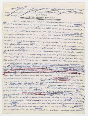 Imre Kertész: Kaddisch für ein nicht geborenes Kind, 1990, Manuskriptseite Quelle: Akademie der Künste, Berlin, Imre-Kertész-Archiv