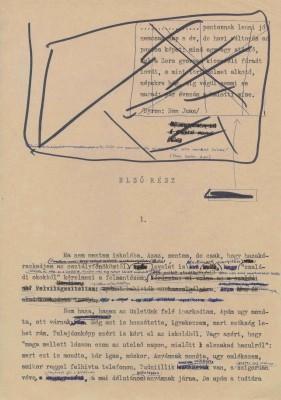 Imre Kertész: Roman eines Schicksallosen, 1975, auf deutsch 1990 erschienen, neuübersetzt 1996, erste Seite der ersten Fassung Quelle: Akademie der Künste, Berlin, Imre-Kertész-Archiv
