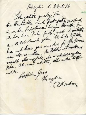 Brief von Ernst Ludwig Kirchner aus Königstein an Gertrud Osthaus mit dem Angebot eines Bildes für ihr Zimmer, 8. Juli 1916 © Osthaus Museum Hagen